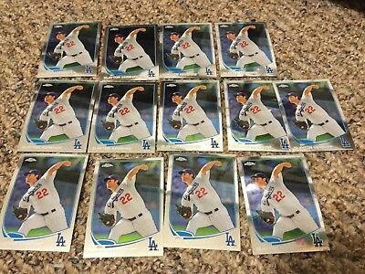 (13) 2013 Topps Chrome Clayton Kershaw Lot Of 13