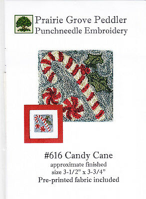 Prairie Grove Peddler  Candy Cane  Punch needle embroidery pattern on fabric