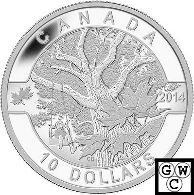 2014 Down by the Old Maple Tree-OCanada Proof $10 Silver Coin .9999 Fine (13910)