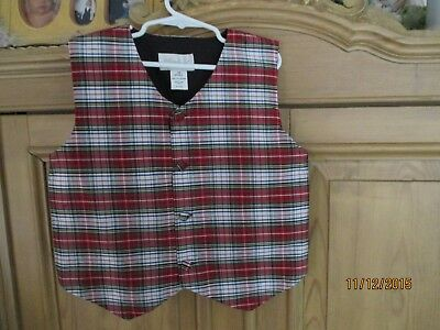 Strasburg Red Plaid Vest Size 7 Lined Christmas Red