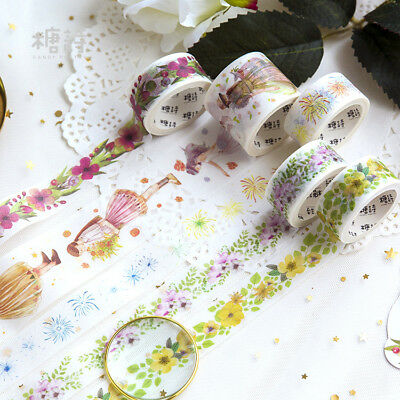 Fresh Flowers Girls Style Washi Masking Tapes Adhesive Paper Ribbon Decor DIY