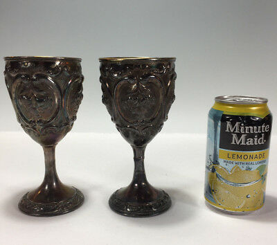 Pair Antique 19c Chinese Export Pure Silver Large Goblets Floral Repousse 340g