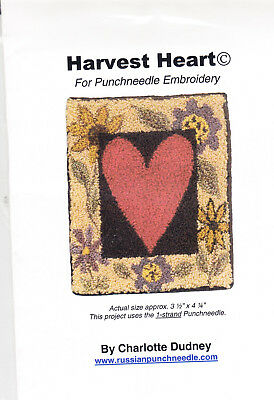Charlotte Dudney  Harvest Heart  Punch needle embroidery pattern on cloth