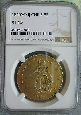 Chile 1845 SO IJ Gold 8 Escudos NGC XF-45