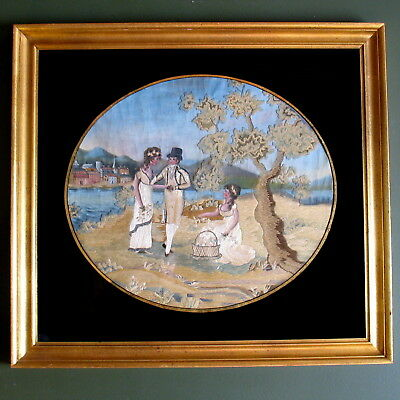Late 18th Century AMERICAN embroidered silk sampler picture New England