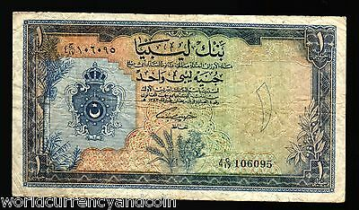 Libya 1 Pound P25 1963 Crown Middle Arabic Africa Currency Money Bill Bank Note