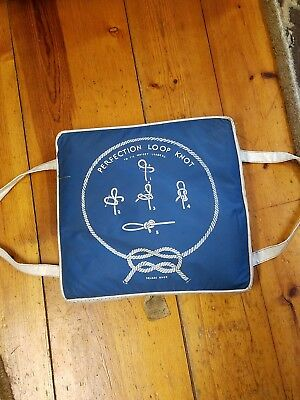 Vintage 1950's Boat cushion Aqua Float Bass Fisherman Blue Nautical Cabin Decor