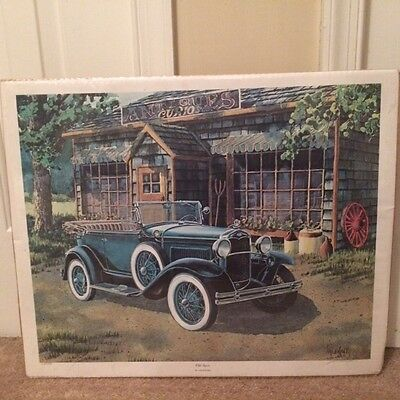 "Vintage Valenchis Antique Car Lithograph Signed Limited Edition ""Old Sport"""