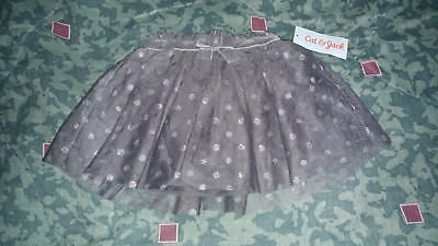 Cat & Jack Baby Girls 2 Tier Polka Dot Skirt built in bow Silver Grey 12 Mth NWT