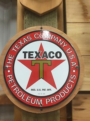 TEXACO  OIL GASOLINE SIGN PORCELAIN VINTAGE GAS PUMP PLATE Dated 10-6-33