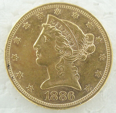 1886 $5 Five Dollar Liberty Gold Coin Half Eagle Au Beautiful Luster Maybe Bu