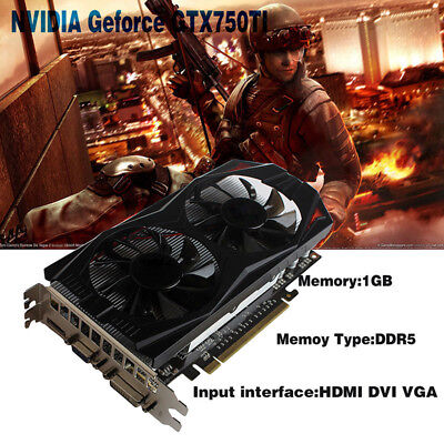 GeForce GTX 750Ti 1GB GDDR5 PCI-Expressx16 Extended Port PC Game Graphics Card