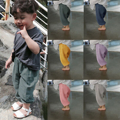 Girls Boys Wide Legs Pants Drawstring Legging Harem Pants Linen Trousers Clothes