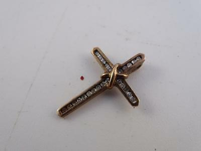 """Vintage 10K Solid Yellow Gold Diamond Inlay Cross Necklace Pendant Charm 1-1/8""""T"""