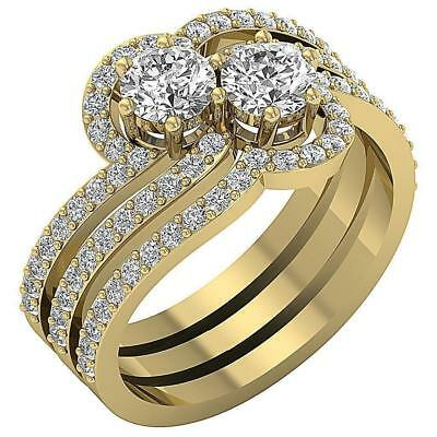 Forever Us Two Stone Multiple Bridal Ring 2.00Ct Natural Diamond 14K Yellow Gold