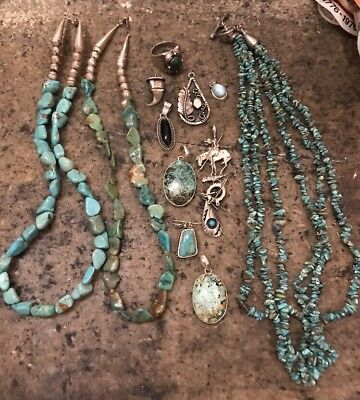 Sterling Silver Navajo Turquoise Scrap Lot - Ring, Nuggets, Necklace- 192g TW