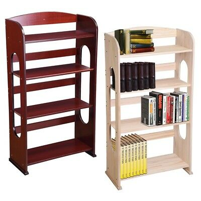 4 Tier Kids Wood Bookshelf Bookcase Rack Hollow Out Storage Organizer Home Decor