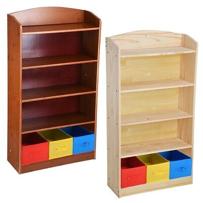 5 Shelves Wood Bookshelf Bookcase Book Rack w/3 Bins Storage Organizer Furniture