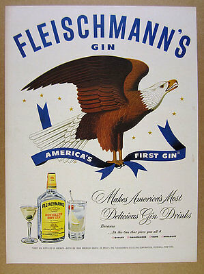 1950 Fleischmann's Gin bald eagle illustration art vintage print Ad
