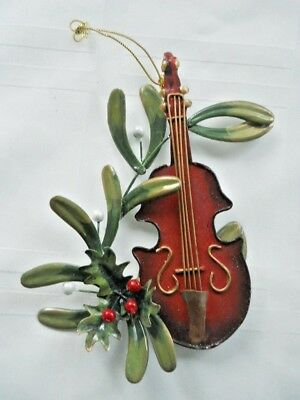 Vintage Painted Raised Tin Cut-Out - Bass Fiddle & Holly Christmas Tree Ornament