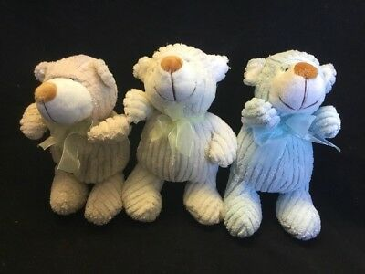 NEW 21cm Soft Small Bear Toy Beige Ivory Blue Baby Gift Plush New Born Cuddles