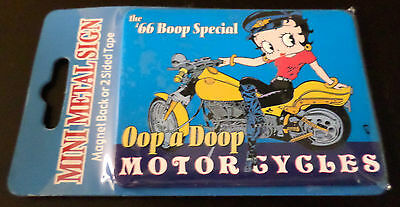Brand New the '66 Betty Boop Oop a Doop Motorcycles Mini Metal Sign