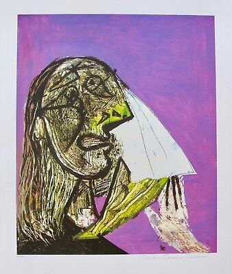 """Pablo Picasso WEEPING WOMAN Estate Signed Limited Edition Art Giclee 26"""" x 20"""""""