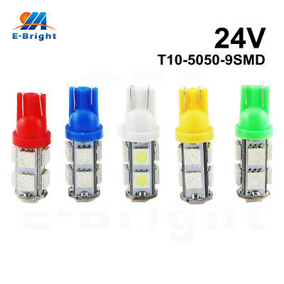 10Pcs 24V T10 5050 9 SMD W5W 194 Led Bulb Clearance License Plate Lamp Indicator
