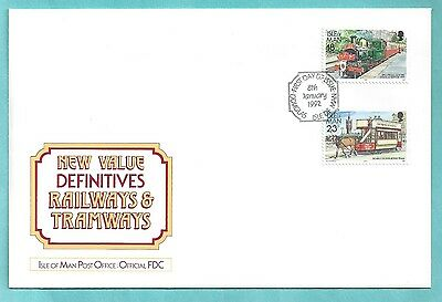Isle of Man First Day Cover FDC 1992 Definitives Railways Tramways New Values