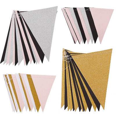 3M 15 Flags Paper Glitter Gold Bunting Banner Garland Wedding Party Decoration