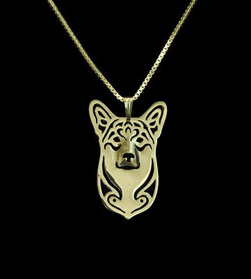 Corgi Dog Pendant Necklace Gold Tone ANIMAL RESCUE DONATION