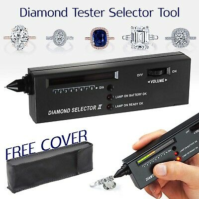 New Audio LED Jewelry Diamond Tester Authentication Gemstone Selector Tool Black