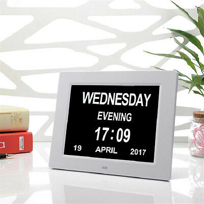 "AU! 8"" Dementia LED Digital Calendar Day Clock Large Time Day/Week/Month/Year"