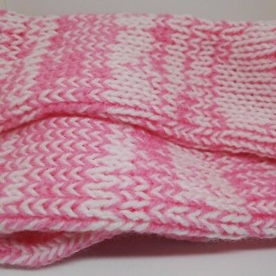 PERSONALIZED HANDMADE RETRO KNITTED SOCKS BABY PINK WHITE THICK UNISEX  #Socks