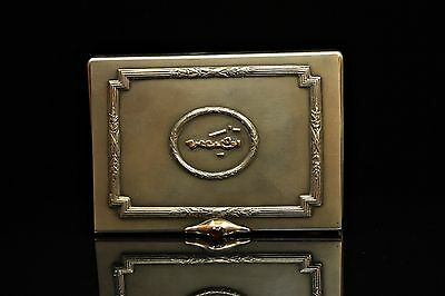 Antique Original Perfect Silver 14K Gold Decorated Strong Cigarette Case