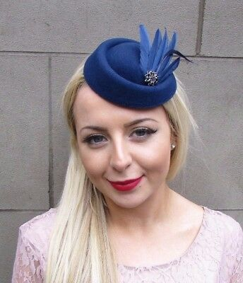 Navy Blue Black Feather Pillbox Hat Fascinator Headpiece Hair Races Clip 4329