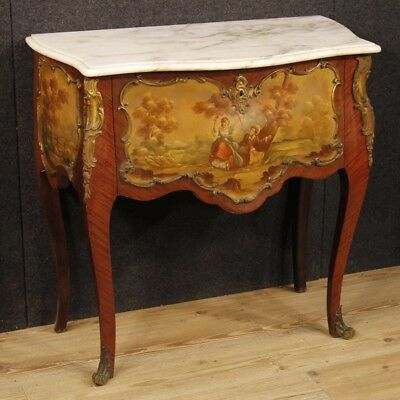Dresser painted wood furniture french commode marble top antique 900 XX cabinet