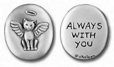 """Cat Angel Pewter Pocket Token """"Always With You"""" 0094"""