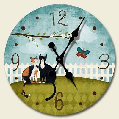 "Cat Theme Wood Wall Clock ""Purrfect Day"" - 68-180"