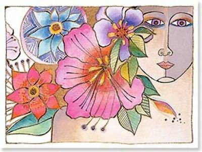 "Laurel Burch Card  Birthday - ""Blossoming Woman"" With Envelope"
