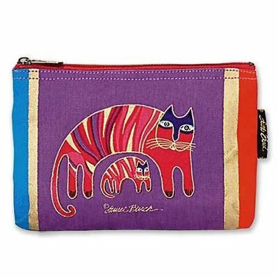 "Laurel Burch Cotton Canvas Small Cosmetic Bag ""Jio's Cat"" Makeup Bag"