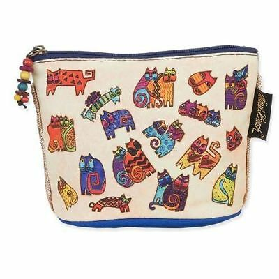 Laurel Burch Feline Minis Small Clutch Cosmetic Pouch Floating Cats Makeup Bag
