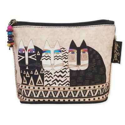 Laurel Burch Feline Minis Small Cosmetic Clutch Pouch Cat Faces Makeup Bag