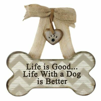 Life with a Dog - Wood Bone Shaped Wall Sign 13918-LIFE