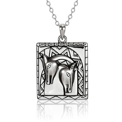 "Embracing Horses Sterling Silver Laurel Burch Necklace 18"" Chain"