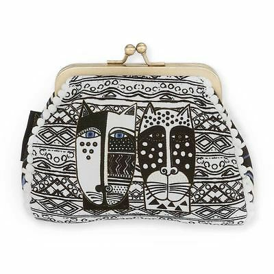Laurel Burch Coin Purse Wild Cat Black White Small Pouch