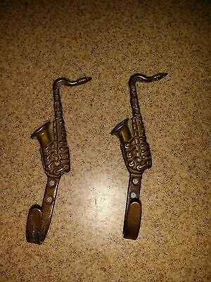 "Vintage TWO Brass Hooks shaped as SAXOPHONES- 4.5"" long - Decorator pieces"