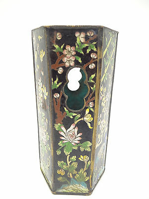 Antique Old Cloisonné Black Chinese China Decorative Brush Holder Vase