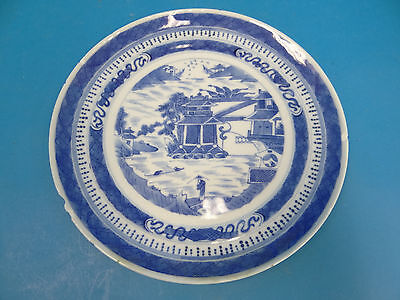 Vintage Used Porcelain Blue & White Chipped Chinese Salad Plate Decorative Dish