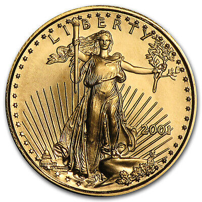 2001 1/10 oz Gold American Eagle BU - SKU #7449
